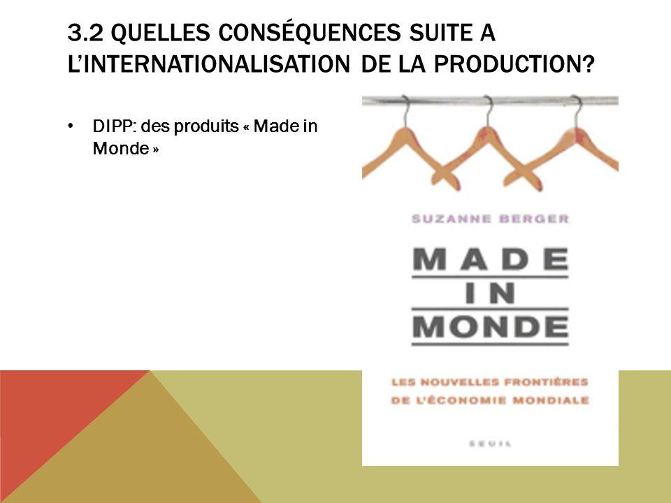 3.2 QUELLES CONSÉQUENCES SUITE A LINTERNATIONALISATION DE LA PRODUCTION? DIPP: des produits « Made in Monde »