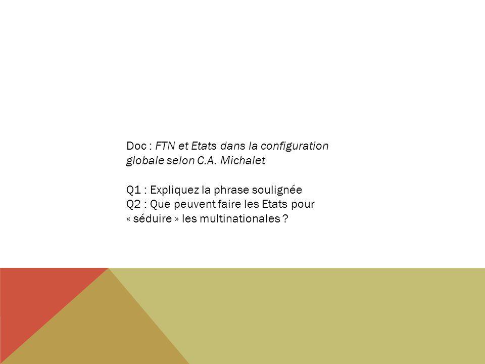 Doc : FTN et Etats dans la configuration globale selon C.A. Michalet Q1 : Expliquez la phrase soulignée Q2 : Que peuvent faire les Etats pour « séduir
