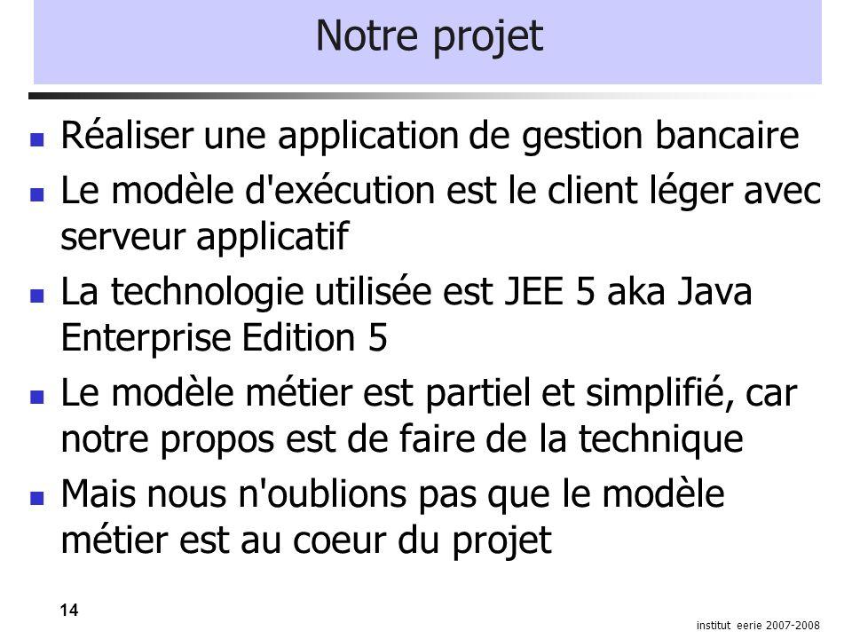 14 institut eerie 2007-2008 Notre projet Réaliser une application de gestion bancaire Le modèle d'exécution est le client léger avec serveur applicati