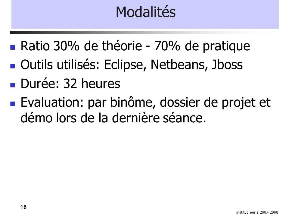 16 institut eerie 2007-2008 Modalités Ratio 30% de théorie - 70% de pratique Outils utilisés: Eclipse, Netbeans, Jboss Durée: 32 heures Evaluation: pa