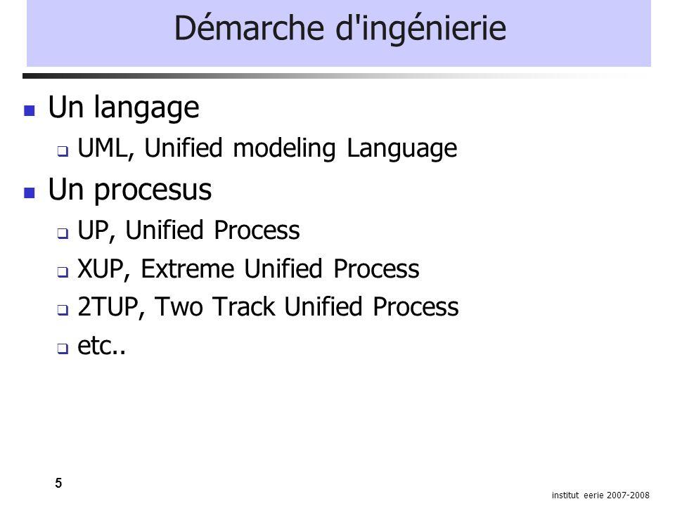 5 institut eerie 2007-2008 Démarche d'ingénierie Un langage UML, Unified modeling Language Un procesus UP, Unified Process XUP, Extreme Unified Proces