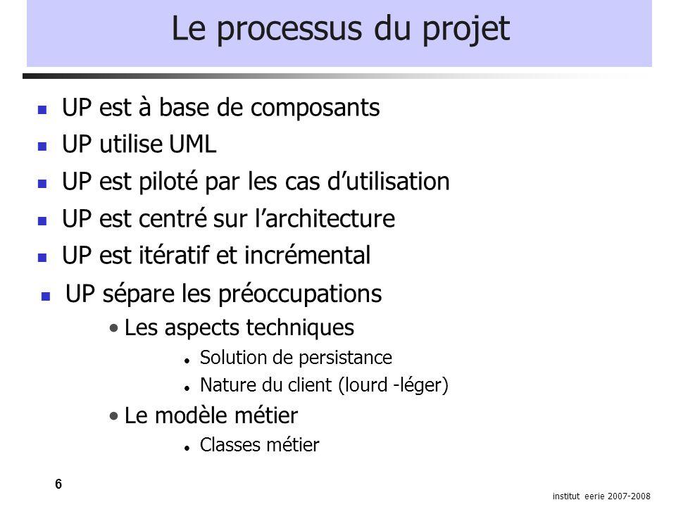 6 institut eerie 2007-2008 Le processus du projet UP est à base de composants UP utilise UML UP est piloté par les cas dutilisation UP est centré sur