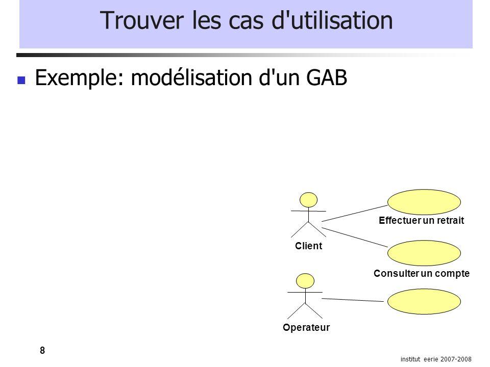 8 institut eerie 2007-2008 Trouver les cas d'utilisation Exemple: modélisation d'un GAB Client Effectuer un retrait Consulter un compte Operateur