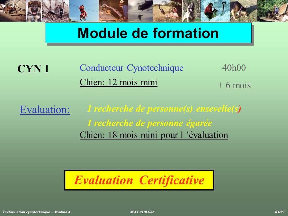 Module de formation CYN 2 Chef d Unité Cynotechnique60h00 Evaluation Certificative Pré-requis: 3 ans d activité opérationnelle en cynotechnie Etre opérationnel FOR 1 - MNG 1 Préformation cynotechnique – Module A MAJ 01/02/08 04/07