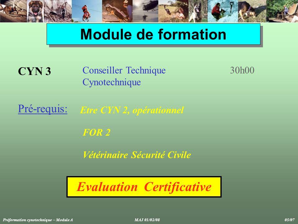 Module de formation CYN 3 Conseiller Technique Cynotechnique 30h00 Evaluation Certificative Pré-requis: Etre CYN 2, opérationnel FOR 2 Vétérinaire Sécurité Civile Préformation cynotechnique – Module A MAJ 01/02/08 05/07
