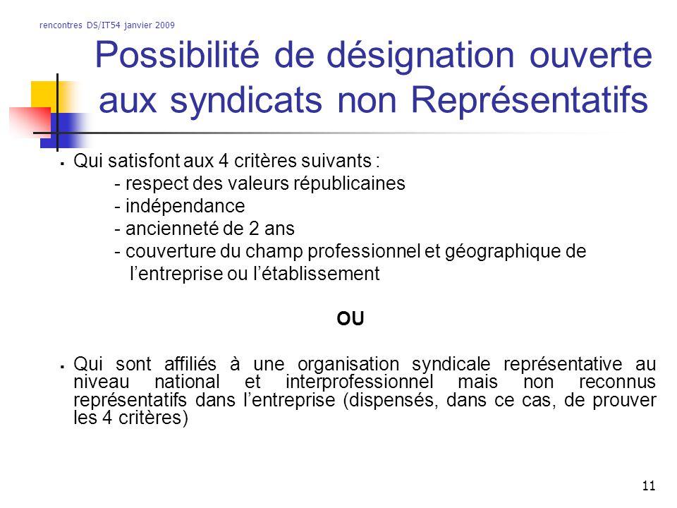 rencontres DS/IT54 janvier 2009 11 Possibilité de désignation ouverte aux syndicats non Représentatifs Qui satisfont aux 4 critères suivants : - respe