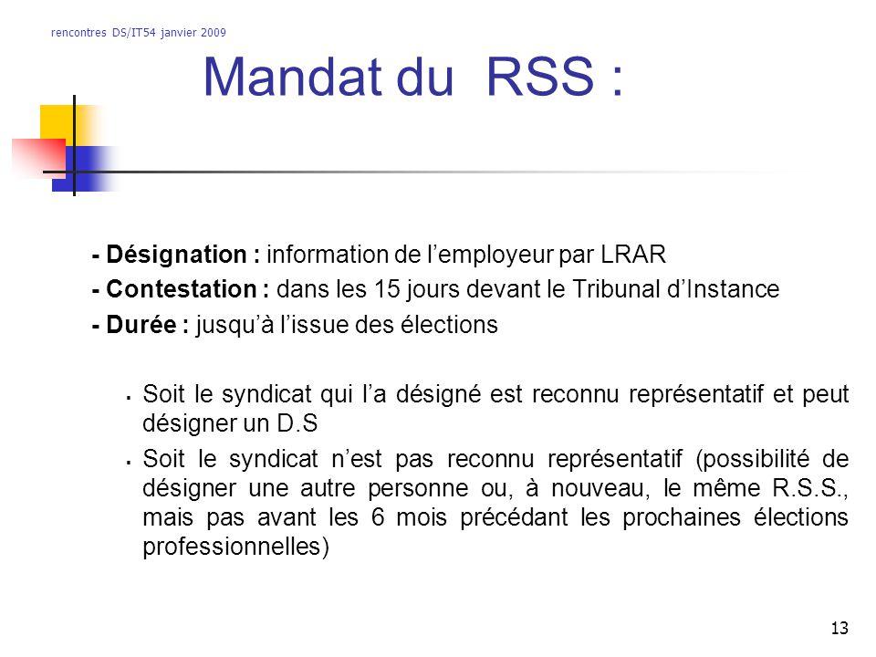 rencontres DS/IT54 janvier 2009 13 - Désignation : information de lemployeur par LRAR - Contestation : dans les 15 jours devant le Tribunal dInstance
