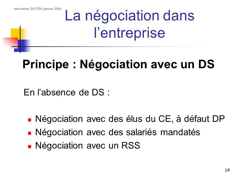 rencontres DS/IT54 janvier 2009 14 La négociation dans lentreprise Principe : Négociation avec un DS En labsence de DS : Négociation avec des élus du