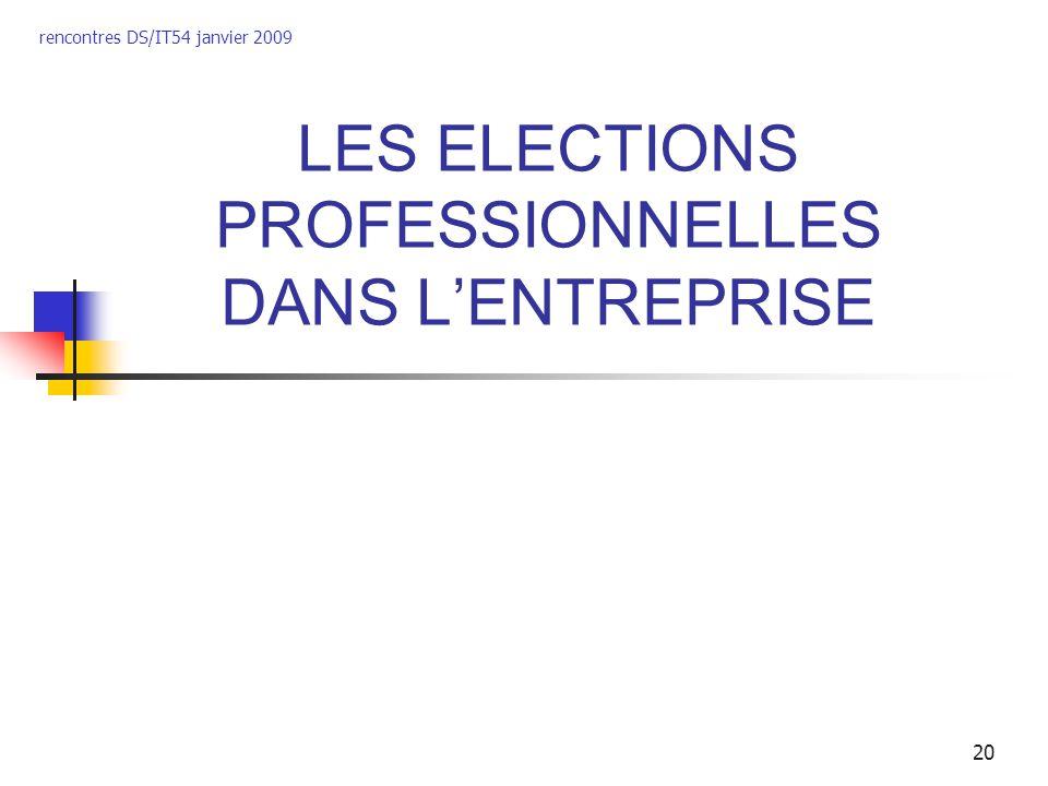 rencontres DS/IT54 janvier 2009 20 LES ELECTIONS PROFESSIONNELLES DANS LENTREPRISE