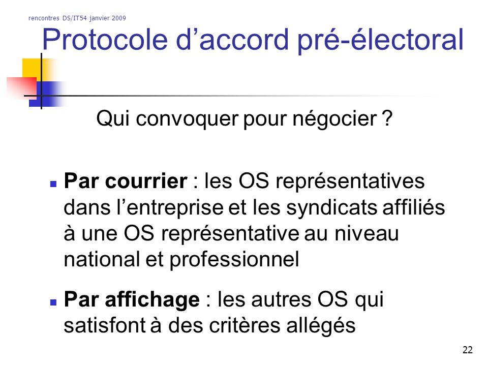 rencontres DS/IT54 janvier 2009 22 Protocole daccord pré-électoral Qui convoquer pour négocier ? Par courrier : les OS représentatives dans lentrepris