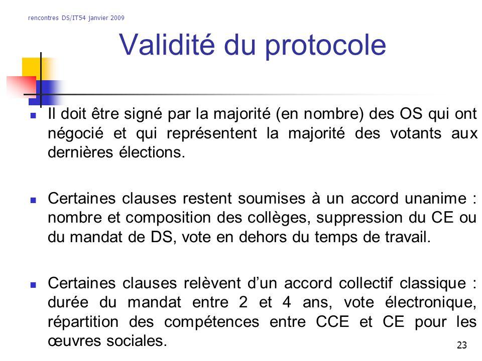 rencontres DS/IT54 janvier 2009 23 Validité du protocole Il doit être signé par la majorité (en nombre) des OS qui ont négocié et qui représentent la majorité des votants aux dernières élections.