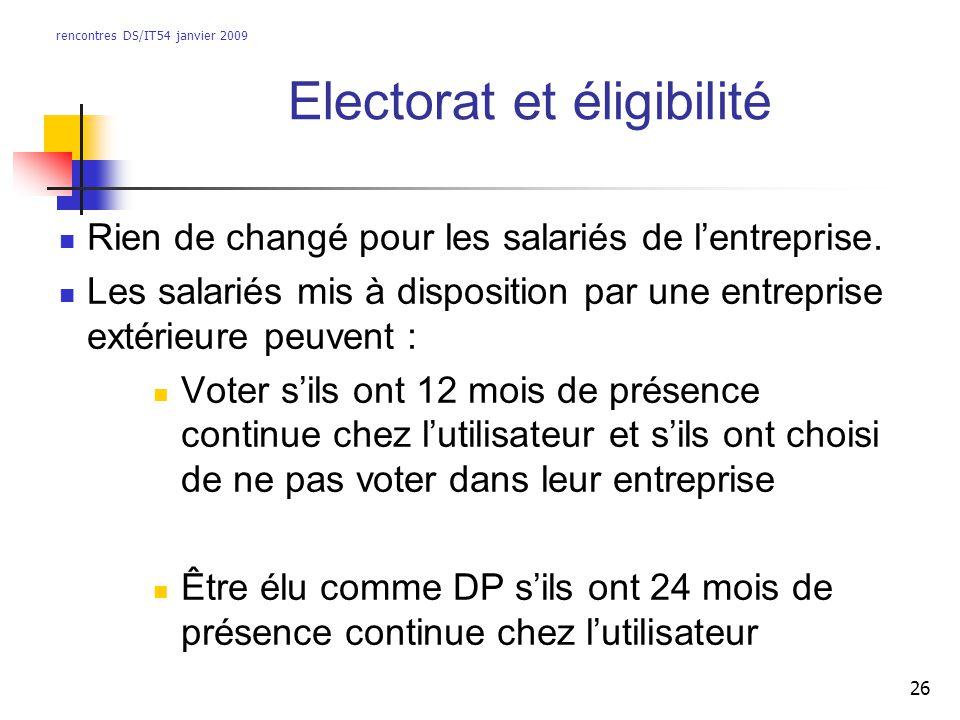 rencontres DS/IT54 janvier 2009 26 Electorat et éligibilité Rien de changé pour les salariés de lentreprise. Les salariés mis à disposition par une en