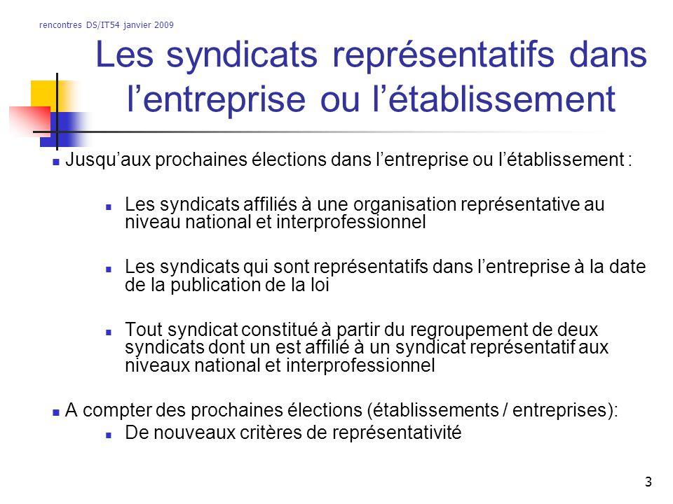 rencontres DS/IT54 janvier 2009 3 Les syndicats représentatifs dans lentreprise ou létablissement Jusquaux prochaines élections dans lentreprise ou lé