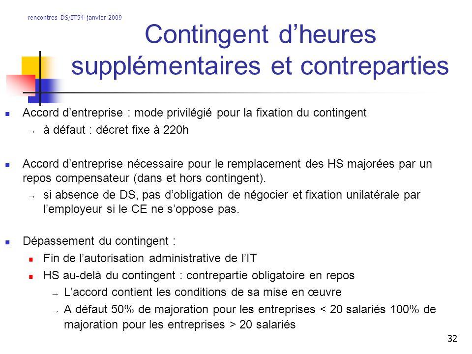 rencontres DS/IT54 janvier 2009 32 Contingent dheures supplémentaires et contreparties Accord dentreprise : mode privilégié pour la fixation du contin