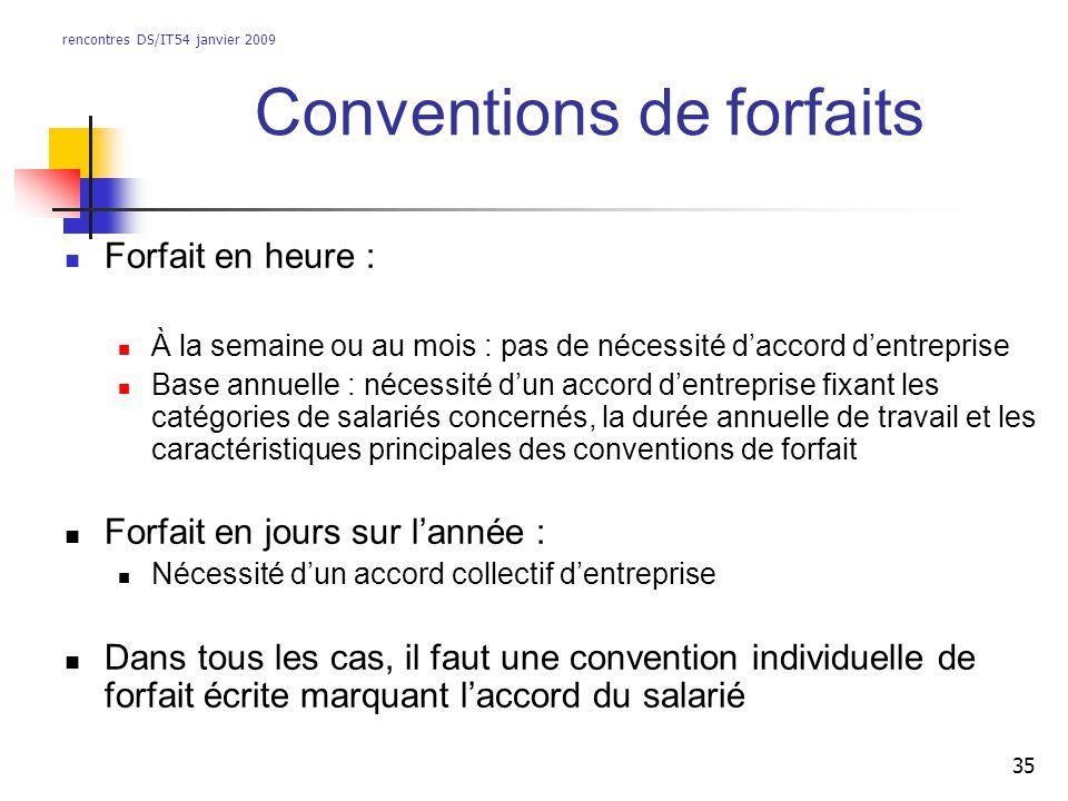 rencontres DS/IT54 janvier 2009 35 Conventions de forfaits Forfait en heure : À la semaine ou au mois : pas de nécessité daccord dentreprise Base annu