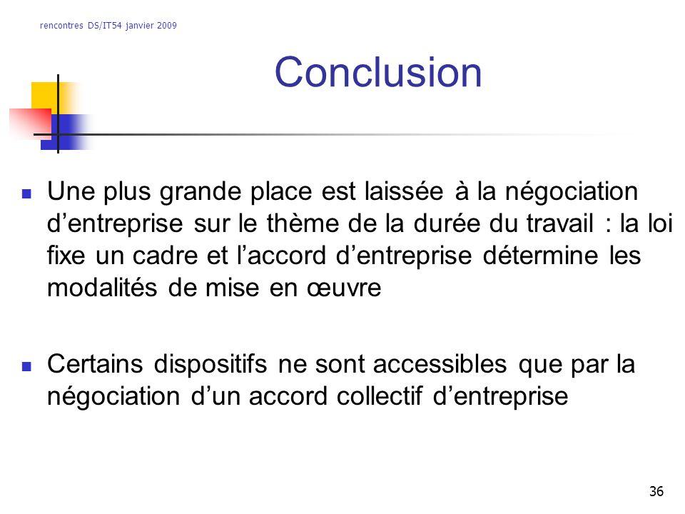 rencontres DS/IT54 janvier 2009 36 Conclusion Une plus grande place est laissée à la négociation dentreprise sur le thème de la durée du travail : la