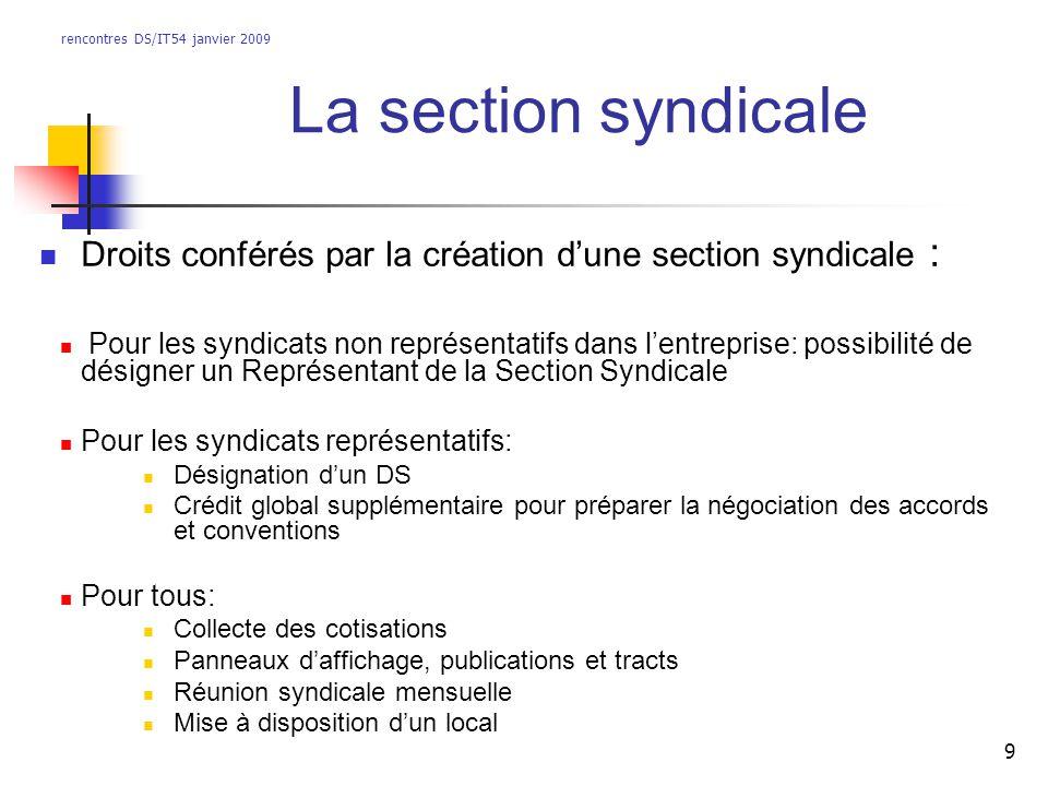 rencontres DS/IT54 janvier 2009 9 La section syndicale Droits conférés par la création dune section syndicale : Pour les syndicats non représentatifs