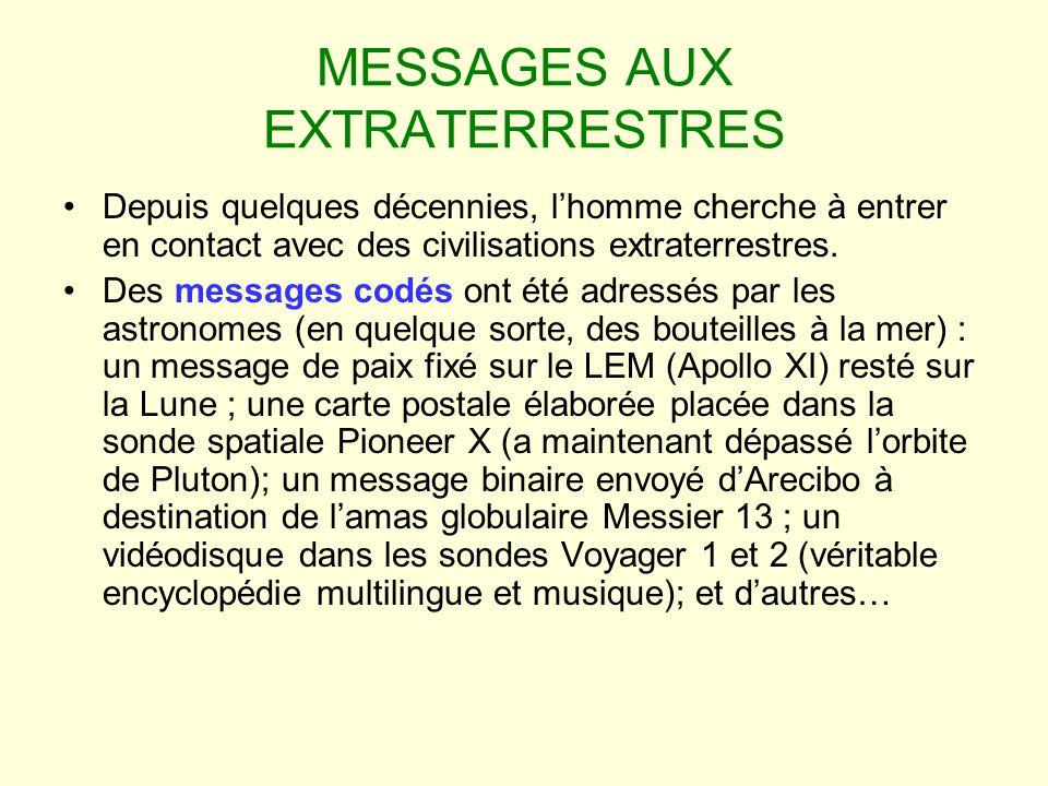MESSAGES AUX EXTRATERRESTRES Depuis quelques décennies, lhomme cherche à entrer en contact avec des civilisations extraterrestres. Des messages codés