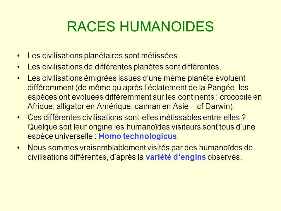 RACES HUMANOIDES Les civilisations planétaires sont métissées. Les civilisations de différentes planètes sont différentes. Les civilisations émigrées