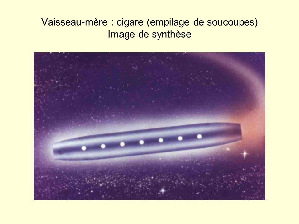 Vaisseau-mère : cigare (empilage de soucoupes) Image de synthèse