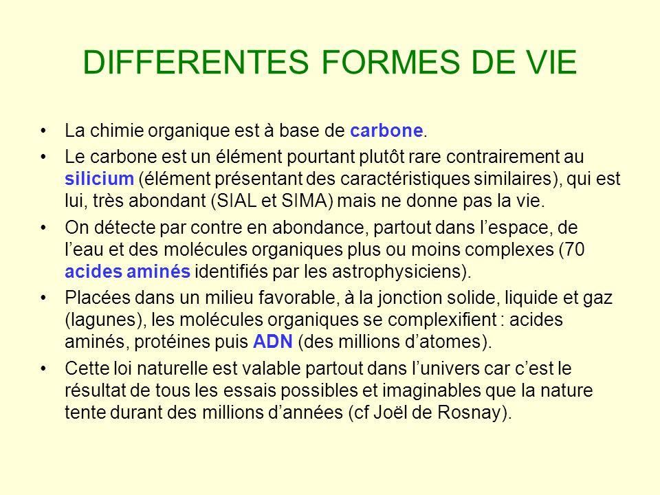 DIFFERENTES FORMES DE VIE La chimie organique est à base de carbone. Le carbone est un élément pourtant plutôt rare contrairement au silicium (élément