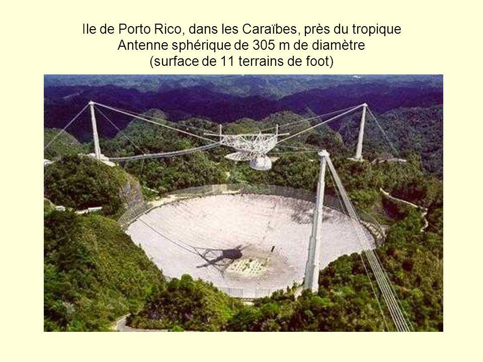 Ile de Porto Rico, dans les Caraïbes, près du tropique Antenne sphérique de 305 m de diamètre (surface de 11 terrains de foot)