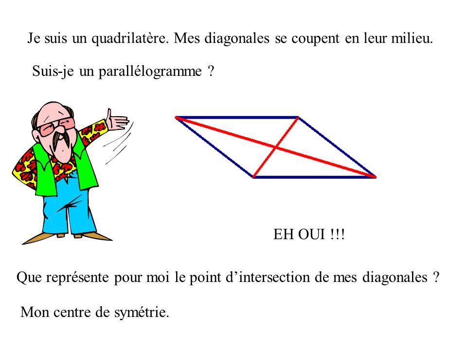 Je suis un quadrilatère et mes angles opposés sont égaux 2 à 2. Suis-je un parallélogramme ? EH OUI !!!