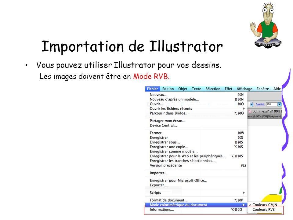 Importation de Illustrator Pour limportation ne gardez que les calques utiles Importez dans la bibliothèque Choisir si vous voulez importer en un seul calque ou séparément les parties du dessin.