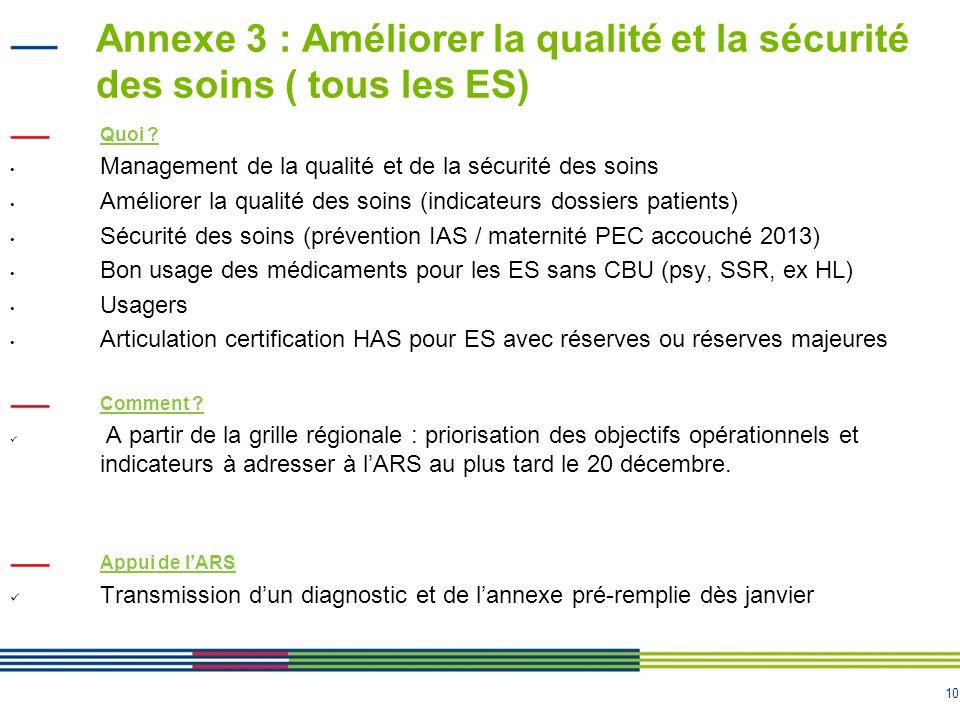 10 Annexe 3 : Améliorer la qualité et la sécurité des soins ( tous les ES) Quoi .
