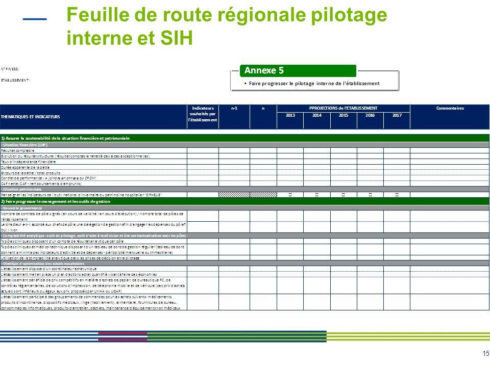 15 Feuille de route régionale pilotage interne et SIH