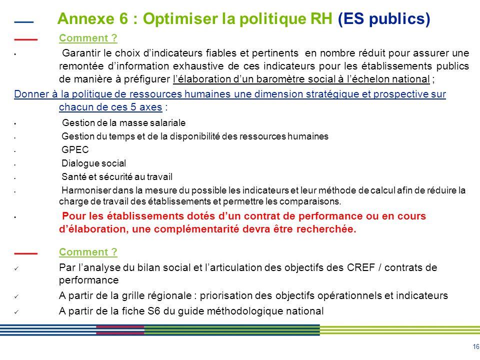 16 Annexe 6 : Optimiser la politique RH (ES publics) Comment .