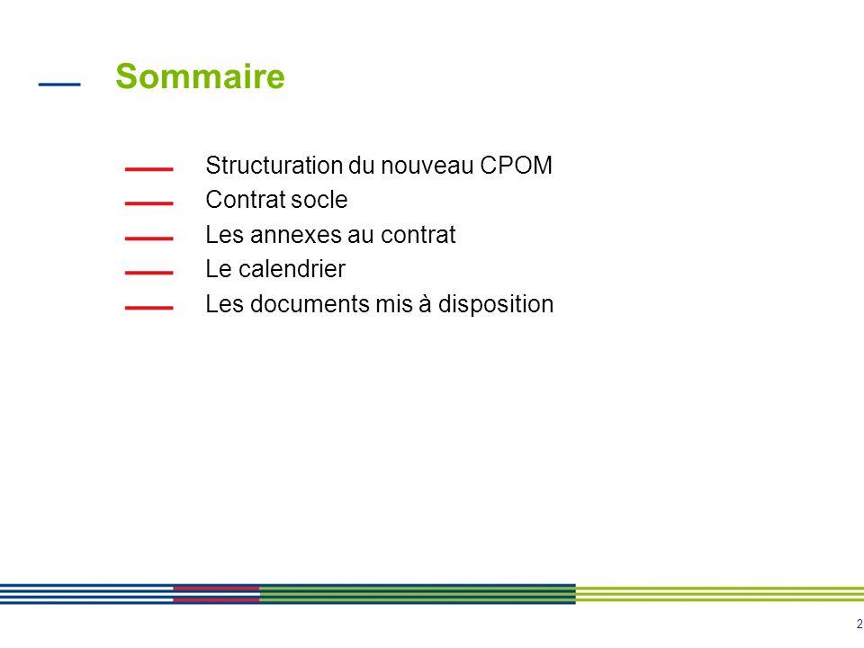 2 Sommaire Structuration du nouveau CPOM Contrat socle Les annexes au contrat Le calendrier Les documents mis à disposition