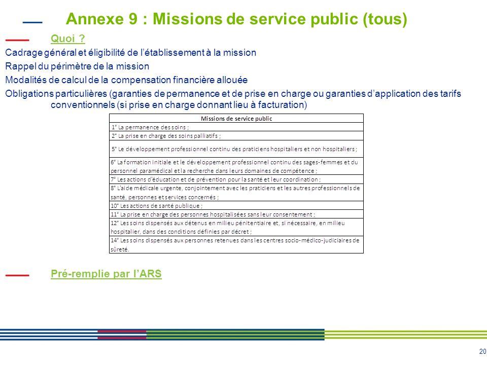 20 Annexe 9 : Missions de service public (tous) Quoi .