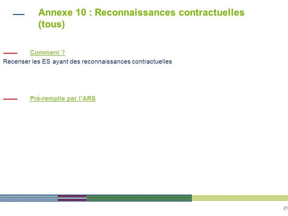 21 Annexe 10 : Reconnaissances contractuelles (tous) Comment .
