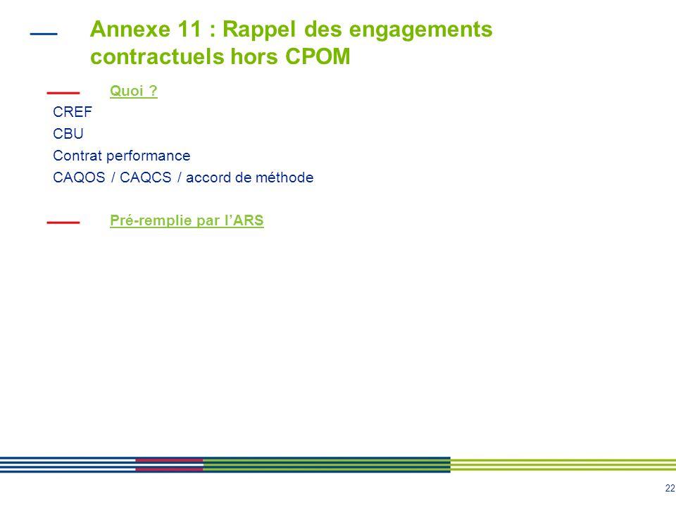 22 Annexe 11 : Rappel des engagements contractuels hors CPOM Quoi .