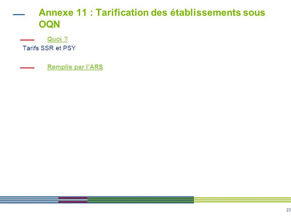 23 Annexe 11 : Tarification des établissements sous OQN Quoi ? Tarifs SSR et PSY Remplie par lARS