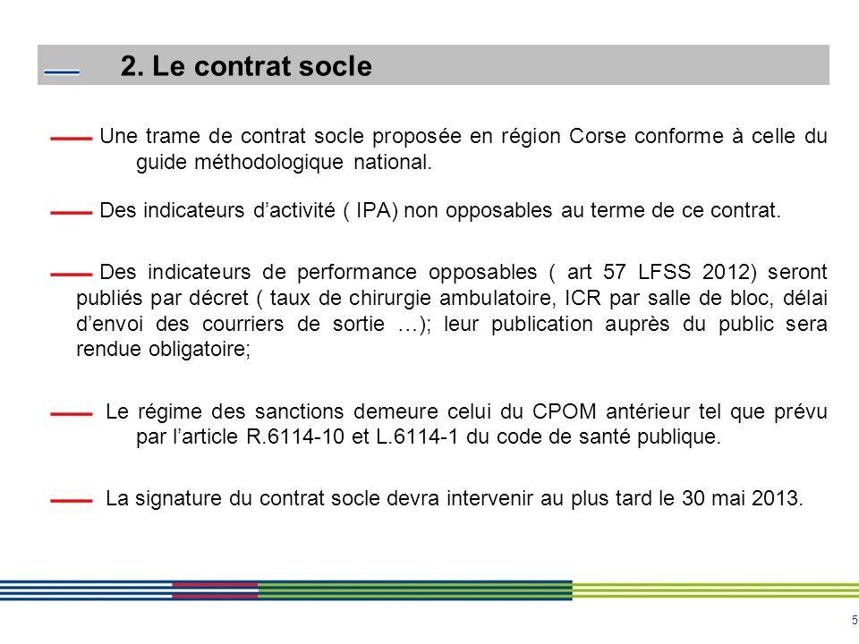 5 2. Le contrat socle Une trame de contrat socle proposée en région Corse conforme à celle du guide méthodologique national. Des indicateurs dactivité