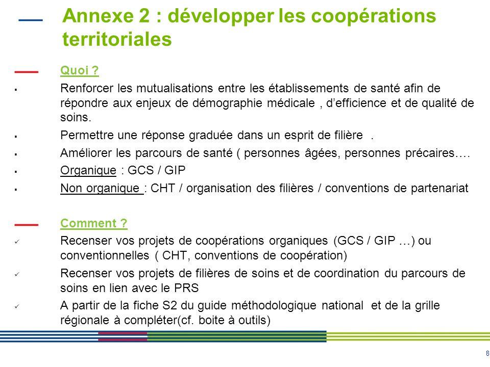 8 Annexe 2 : développer les coopérations territoriales Quoi .