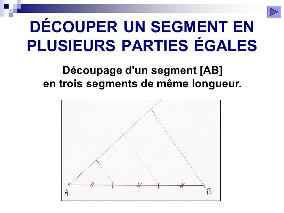 La droite tracée est la bissectrice de l'angle formée par les deux demi-droites. ÉTAPE 6 BISSECTRICE DUN ANGLE
