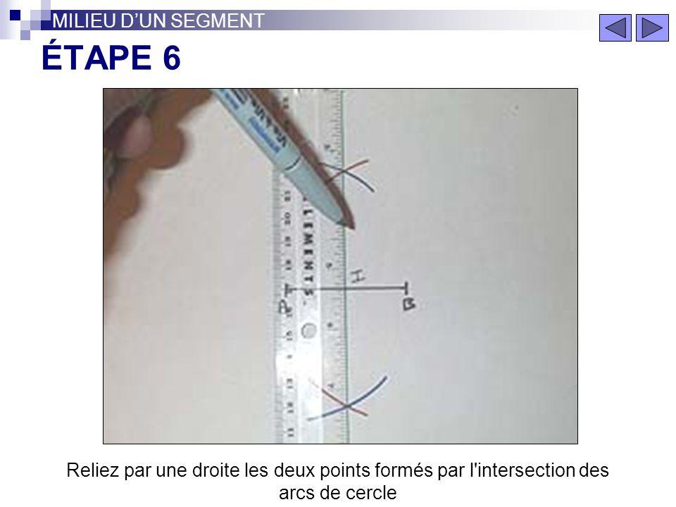 ÉTAPE 5 MILIEU DUN SEGMENT Gardez la même ouverture de compas. Faites un arc de cercle de l'autre côté du segment (pointe en A)