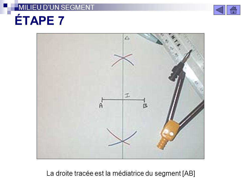 ÉTAPE 6 MILIEU DUN SEGMENT Reliez par une droite les deux points formés par l'intersection des arcs de cercle