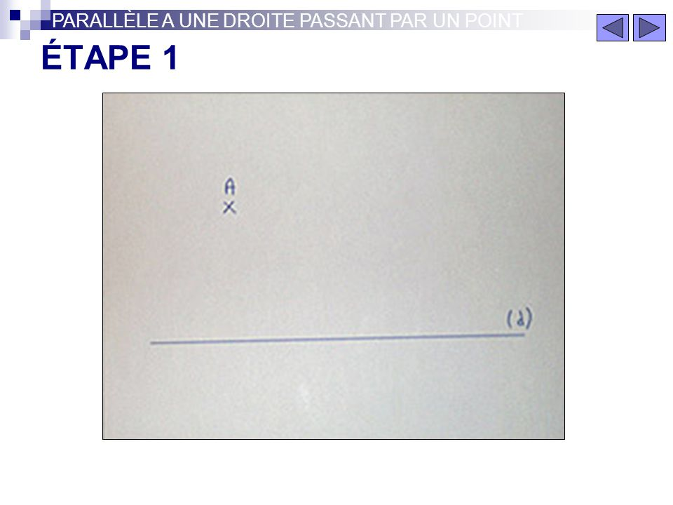 PARALLÈLE A UNE DROITE PASSANT PAR UN POINT Parallèle à une droite (d) passant par un point A PARALLÈLE