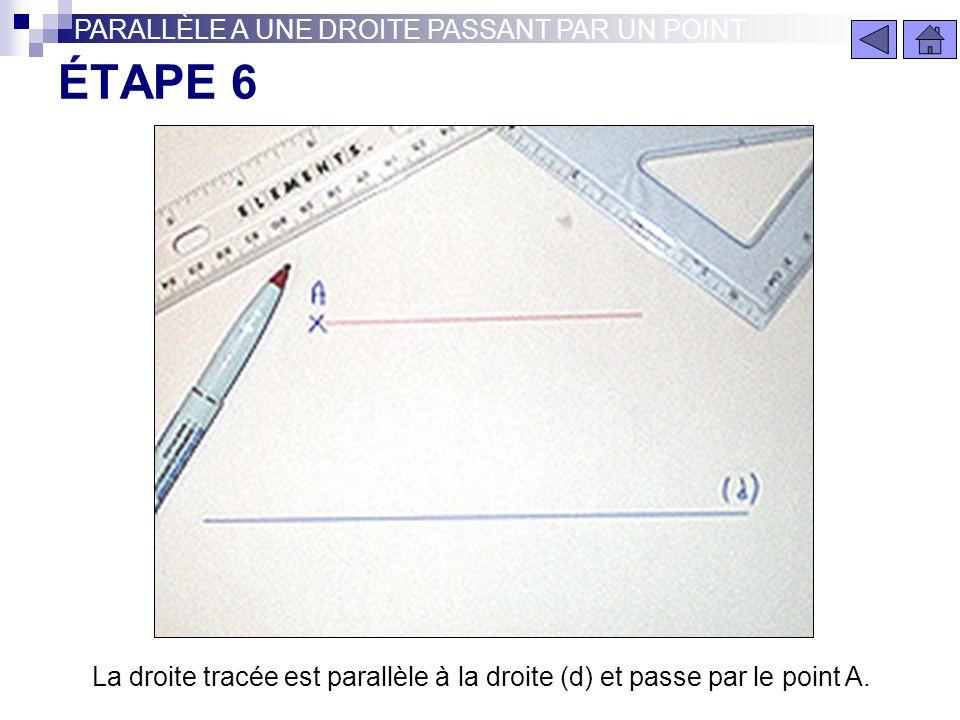 ÉTAPE 5 PARALLÈLE A UNE DROITE PASSANT PAR UN POINT Enlever la règle et sans bouger l'équerre tracer la droite passant par A comme ci dessus.