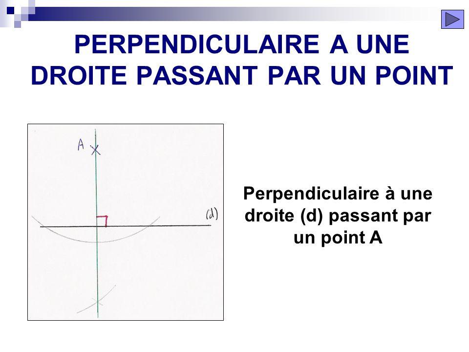 ÉTAPE 6 PARALLÈLE A UNE DROITE PASSANT PAR UN POINT La droite tracée est parallèle à la droite (d) et passe par le point A.