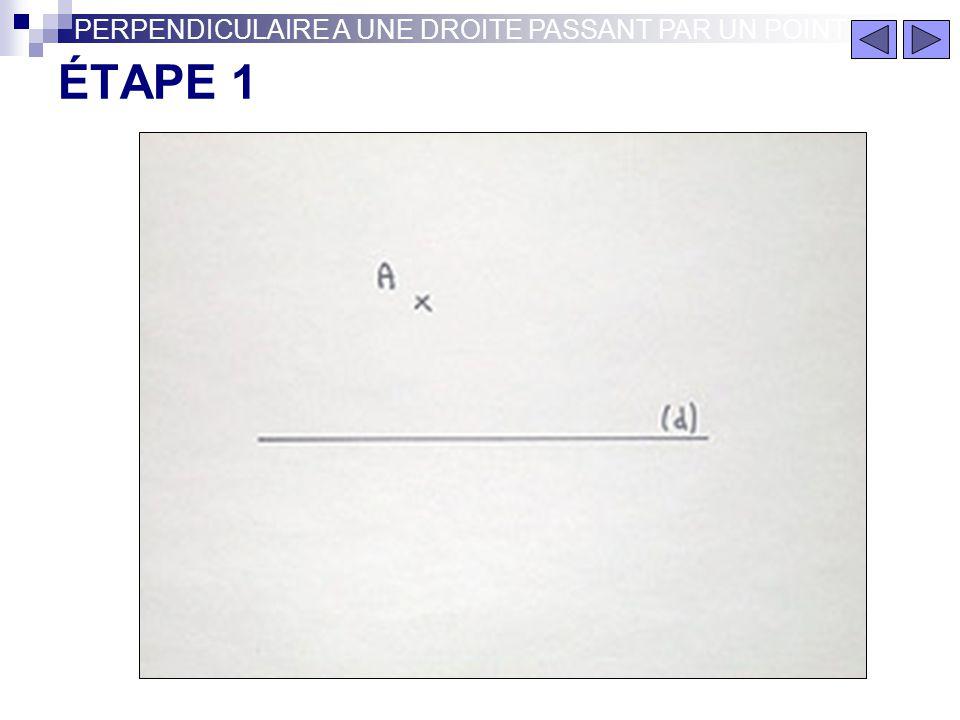 PERPENDICULAIRE A UNE DROITE PASSANT PAR UN POINT Perpendiculaire à une droite (d) passant par un point A