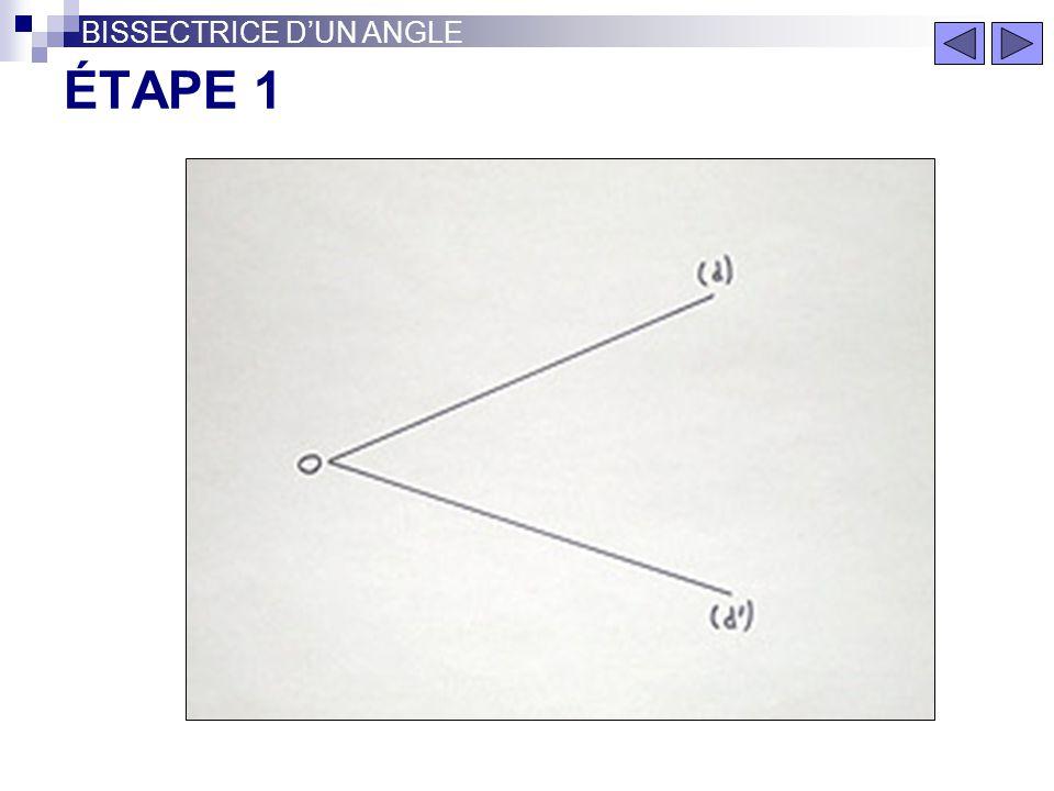 BISSECTRICE DUN ANGLE La bissectrice d'un angle est la droite qui le divise en deux angles de même mesure. BISSECTRICE
