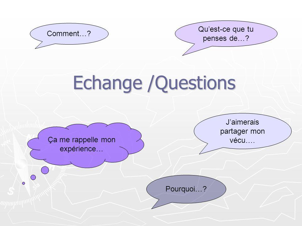 Echange /Questions Pourquoi…? Comment…? Ça me rappelle mon expérience… Quest-ce que tu penses de…? Jaimerais partager mon vécu….