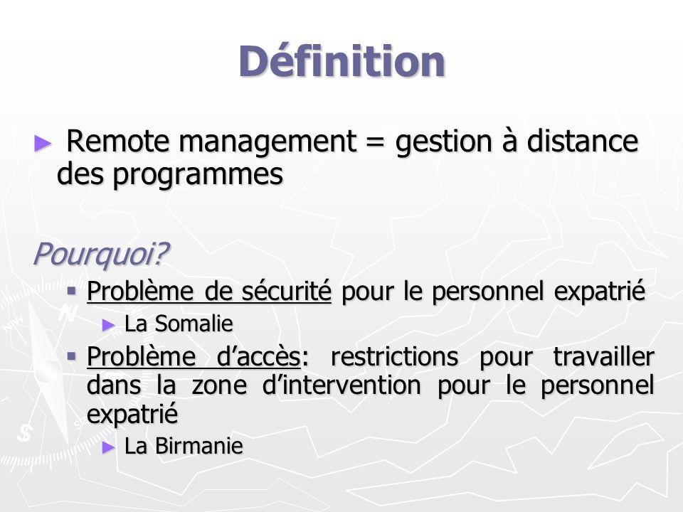 Définition Remote management = gestion à distance des programmes Remote management = gestion à distance des programmesPourquoi? Problème de sécurité p