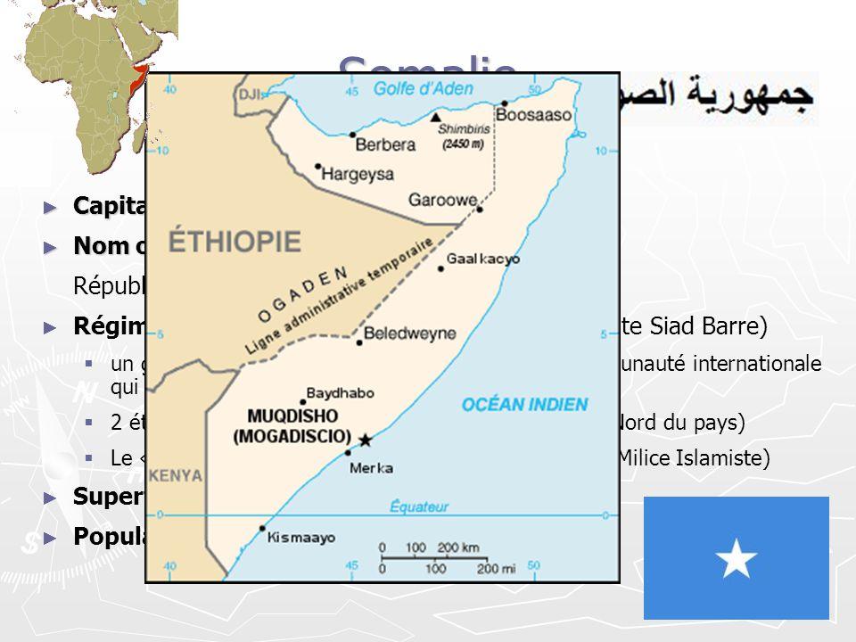 Somalie Capitale: Mogadiscio Capitale: Mogadiscio Nom officiel: Nom officiel: République Somali Régime politique: « à définir » depuis 1992 (chute Sia