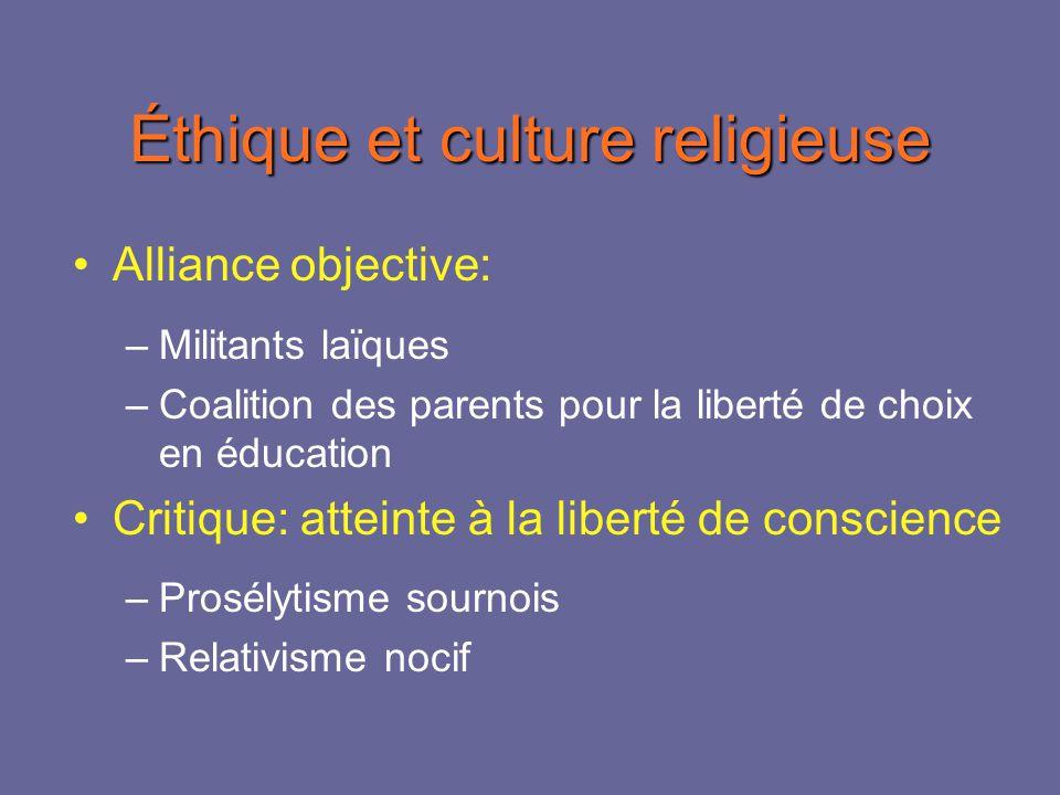 Éthique et culture religieuse Alliance objective: –Militants laïques –Coalition des parents pour la liberté de choix en éducation Critique: atteinte à la liberté de conscience –Prosélytisme sournois –Relativisme nocif
